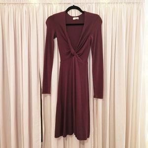 Wilfred xxs wine long sleeve body con dress